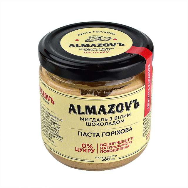 Купить Паста ореховая миндаль с белым шоколадом Almazovъ. Магазин натуральные продукты ЯТНА.