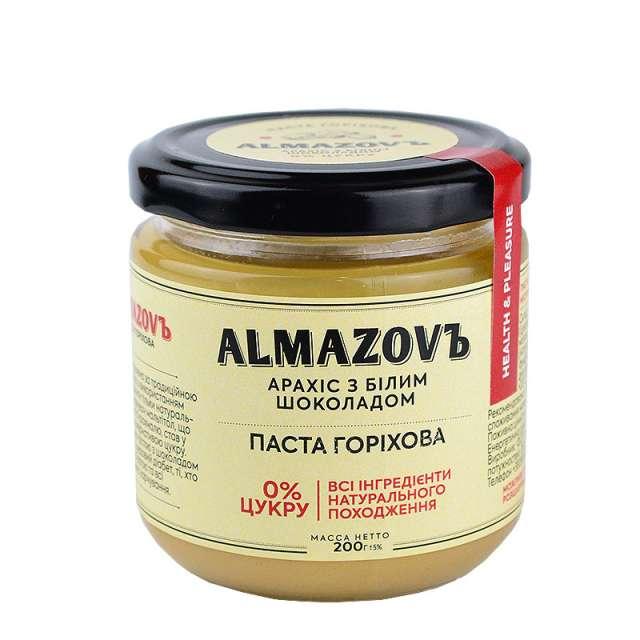 Купить Паста ореховая арахис с белым шоколадом Almazovъ. Магазин натуральные продукты ЯТНА.