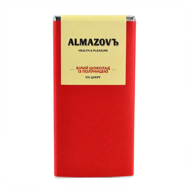 Купить Белый шоколад с клубникой Almazovъ. Магазин натуральные продукты ЯТНА.
