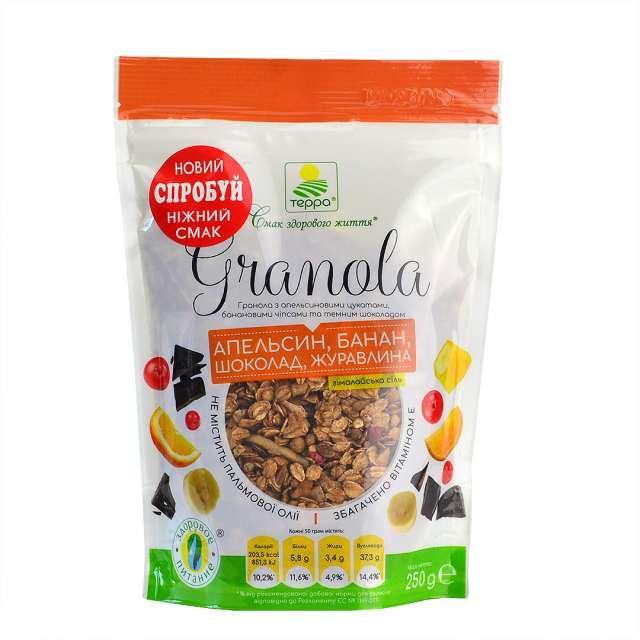 Купить Гранола Терра с апельсиновыми цукатами банановыми чипсами и темным шоколадом. Магазин натуральные продукты ЯТНА.