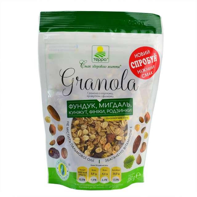 Купить Гранола Терра с орехами кунжутом и финиками. Магазин натуральные продукты ЯТНА.