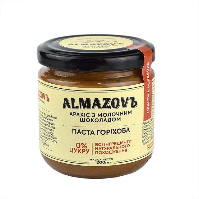 Купить Паста ореховая арахис с молочным шоколадом Almazovъ. Магазин натуральные продукты ЯТНА.