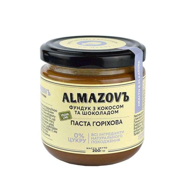 Купить Паста ореховая фундук с кокосом и шоколадом Almazovъ. Магазин натуральные продукты ЯТНА.
