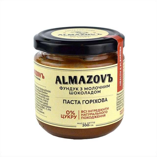 Купить Паста ореховая фундук с молочным шоколадом Almazovъ. Магазин натуральные продукты ЯТНА.