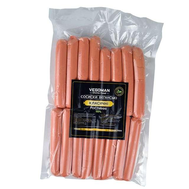 Купить Веганские сосиски без мяса VegaMan Ветчинная Украина. Натуральные веганские растительные сосиски и колбасы без мяса VegaMan
